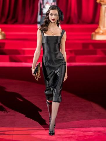 DOLCE & GABBANA Duchesse square-neck silk-satin midi dress in black ~ Italian vintage style glamour
