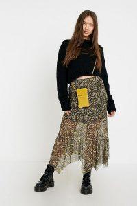UO Bertie Floral Asymmetric Midi Skirt