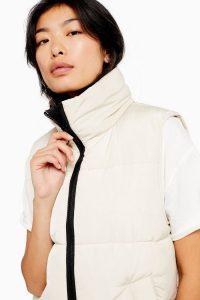 Topshop Ecru Puffer Jacket | sleeveless Fall jackets