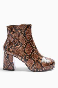 TOPSHOP EDDIE Snake Platform Boots in Natural / reptile print bock heel ankle boot