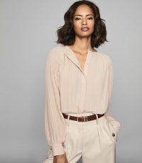 REISS EDITHA PLEAT DETAIL BLOUSE NUDE ~ feminine pleated shirt