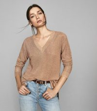REISS EFFIE METALLIC V-NECK JUMPER ROSE GOLD ~ luxe knits