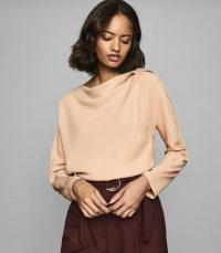 REISS ELIF DRAPE DETAILED TOP NUDE ~ effortlessly chic clothing