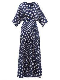 DIANE VON FURSTENBERG Eloise navy and white spot-print wrap silk dress