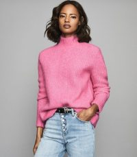 REISS ELSIE CHUNKY RIBBED TURTLENECK JUMPER PINK ~ luxe high neck sweaters