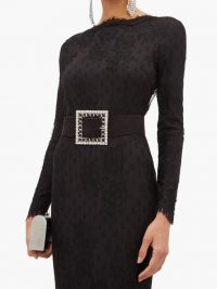 ALESSANDRA RICH square embellished-buckle suede belt in black ~ statement belts