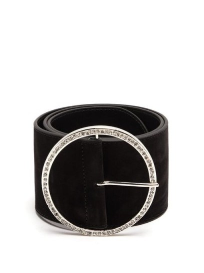 ALESSANDRA RICH Round embellished-buckle suede belt - flipped