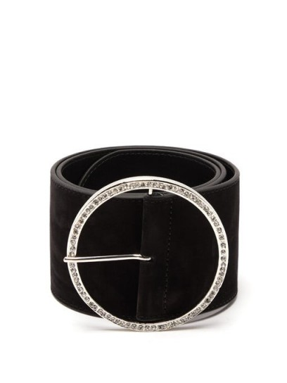 ALESSANDRA RICH Round embellished-buckle suede belt