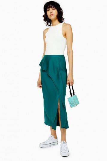 TOPSHOP Emerald Green Drape Satin Bias Midi Skirt