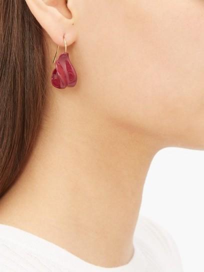JIL SANDER Enamel drop earrings in burgundy