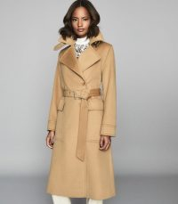 REISS EVERLEY WOOL BLEND BELTED TRENCH COAT CAMEL ~ classic coats