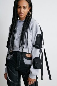 NAMILIA Grey Tactical Pullover Hoodie