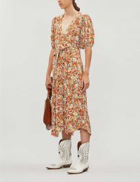 FAITHFULL THE BRAND Delia floral-print crepe midi dress / front waist tie tea dresses