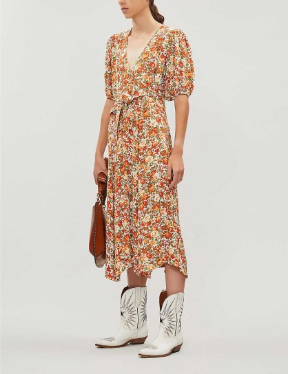 FAITHFULL THE BRAND Delia floral-print crepe midi dress / front waist tie tea dresses