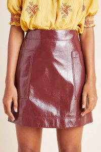 Maeve Faux Patent Leather Skirt in Wine / dark-red high shine skirts