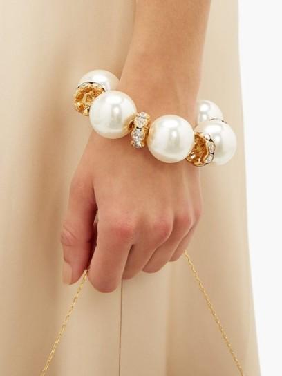 DOLCE & GABBANA Faux pearl-embellished bracelet ~ large pearls ~ chunky bracelets