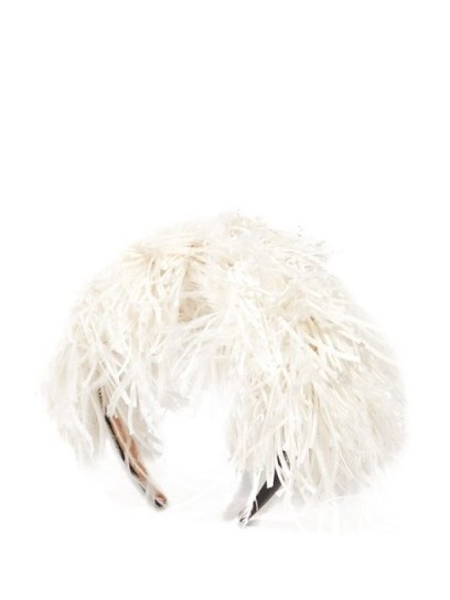 LOEWE Feathers headband in white | feathered headbands - flipped