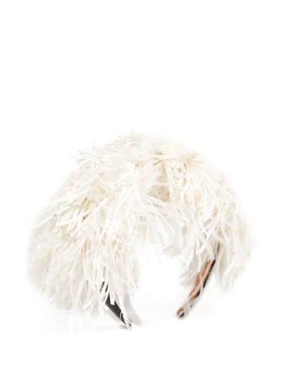 LOEWE Feathers headband in white | feathered headbands