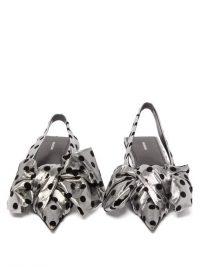 BALENCIAGA Flocked polka-dot silver lamé slingback flats / shiny flat slingbacks