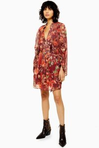 Topshop Floral Tassel Mini Dress in Red