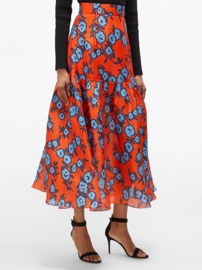 CAROLINA HERRERA Floral-print gazar skirt in orange