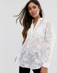 French Connection devore shirt in white / sheer floral burn-out shirts