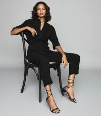 REISS FREYA UTILITY JUMPSUIT BLACK ~ effortless casual style