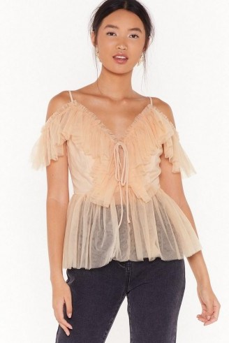 NASTY GAL Frill I'm Gone Mesh Lace-Up Top in Blush ~ semi sheer thin strap tops - flipped