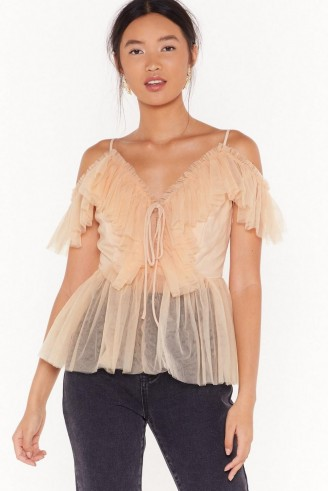 NASTY GAL Frill I'm Gone Mesh Lace-Up Top in Blush ~ semi sheer thin strap tops