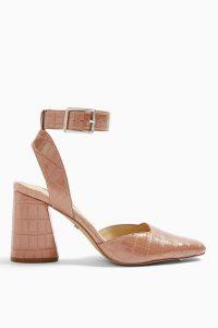 TOPSHOP GAZE Pink Block Ankle Strap Heels