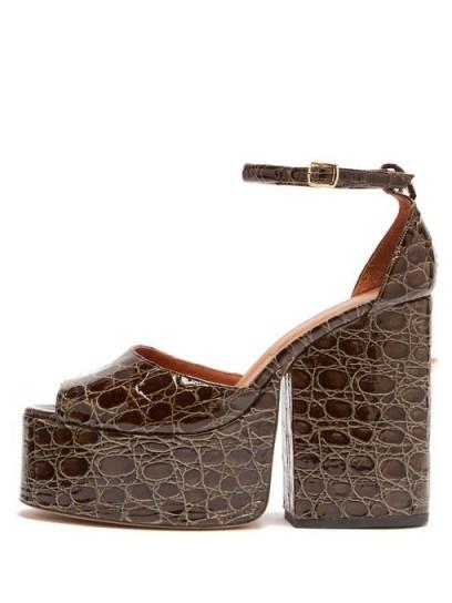 OSMAN Gesa crocodile-effect leather platform sandals in dark-green - flipped