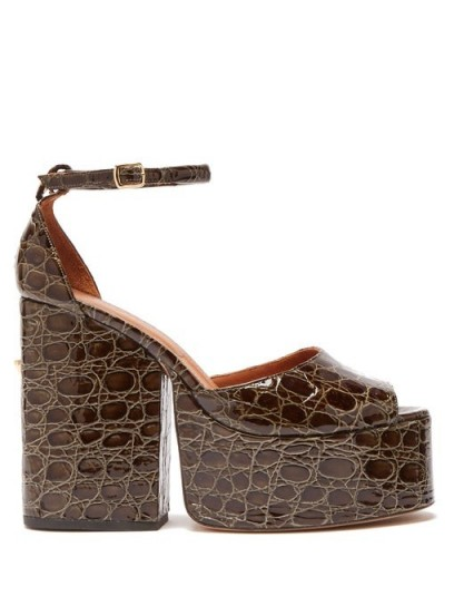 OSMAN Gesa crocodile-effect leather platform sandals in dark-green