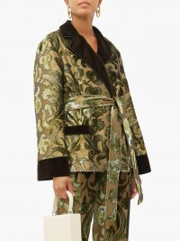 F.R.S – FOR RESTLESS SLEEPERS Giocasta floral velvet-devoré wrap jacket in green / sleepwear inspired fashion