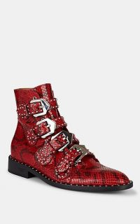 GIVENCHY Elegant Studded Red and Black Python-Stamped Leather Ankle Boots