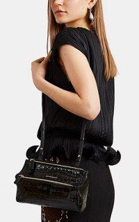 GIVENCHY Pandora Mini Black Crocodile-Stamped Leather Messenger Bag