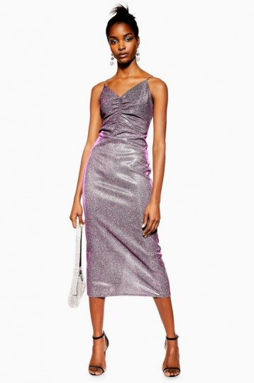 TOPSHOP Glitter Midi Slip Dress in Pink / ruched front going out dresses