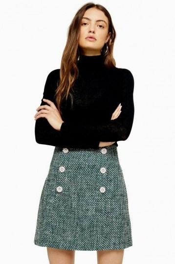 Topshop Green Boucle Mini Skirt | tweed skirts - flipped