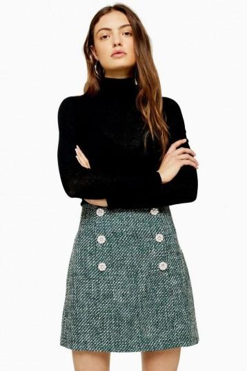 Topshop Green Boucle Mini Skirt | tweed skirts