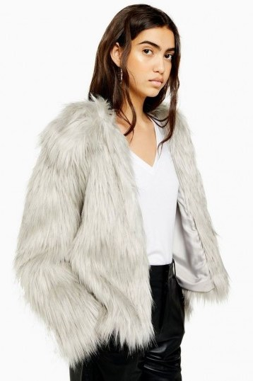 TOPSHOP Grey Tipped Faux Fur Coat / casual fluffy winter jacket - flipped