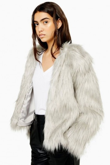 TOPSHOP Grey Tipped Faux Fur Coat / casual fluffy winter jacket