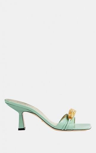 GUCCI Dora Leather Slide Sandals in Aqua ~ luxe embellished heels