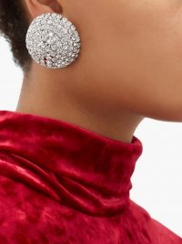 ALESSANDRA RICH Half-sphere crystal earrings ~ instant vintage-style event glamour