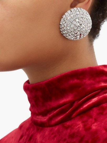 ALESSANDRA RICH Half-sphere crystal earrings ~ instant vintage-style event glamour - flipped