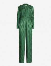 HAPPY X NATURE Celeste polka-dot print crepe jumpsuit in Fern