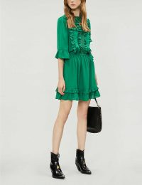 HAPPY X NATURE Lark ruffled recycled polyester mini dress in jolly green / tiered ruffles