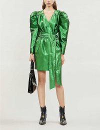 HAPPY X NATURE Twilight metallic recycled polyester mini dress in emerald