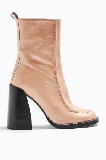 TOPSHOP HARVEY Leather Square Toe Boots in Natural / high chunky heeled boot