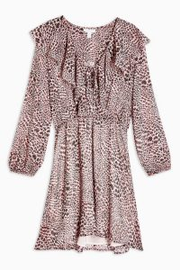 Topshop Heart Animal Print Ruffle Mini Dress in Pink ~ front ruffle trim dresses