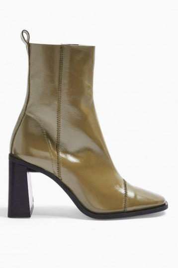 Topshop HOMERUN Leather Boots in Khaki | green leather block heel boot