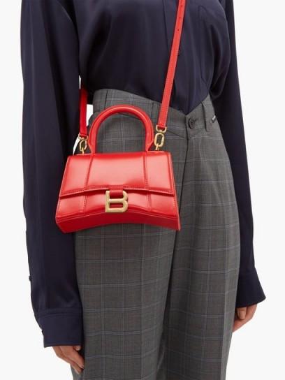 BALENCIAGA Hourglass XS red-leather handbag | small luxe crossbody